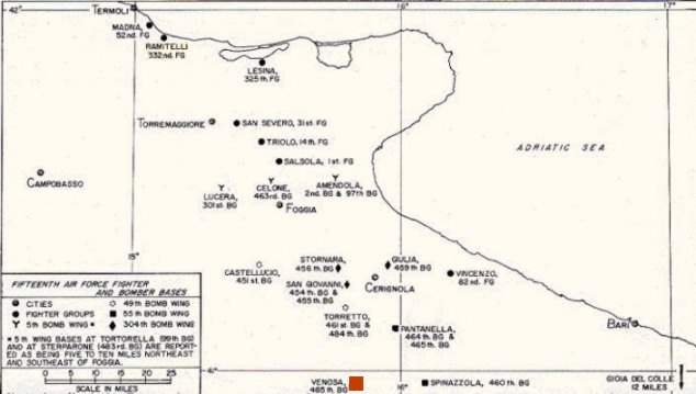 Amendola Italy Map.15th Usaaf Airfields In Apulia
